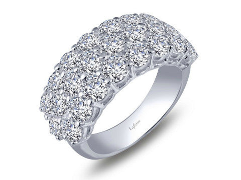 Simulated Diamond Triple Row Band in Sterling Silver
