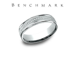 Satin Finish Rope Center 14K White Gold Wedding Band