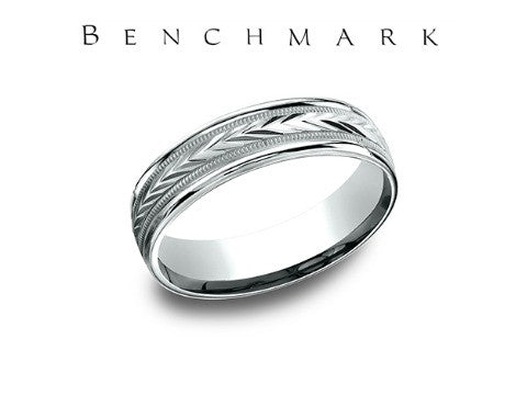High Polish Harvest Design 14K White Gold Wedding Band