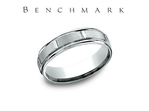 Satin Finish With 8 Cuts 14K White Gold Wedding Band