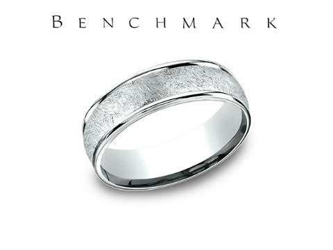 Swirl Center 14K White Gold Wedding Band