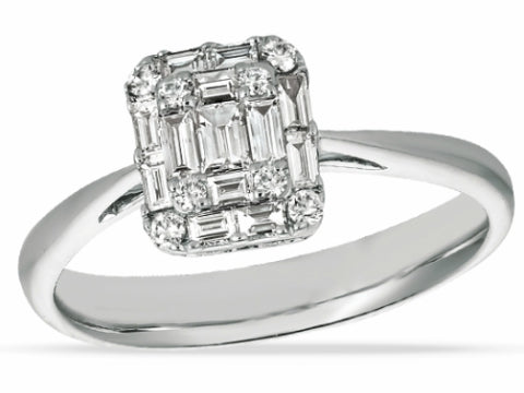 Diamond Pear Halo Engagement Ring in 14K White Gold