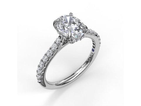 Diamond Split Shoulder Engagement Setting in 14K White Gold