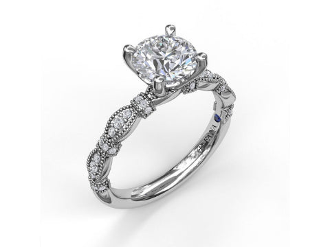 Diamond Solitaire Engagement Setting in 14K White Gold