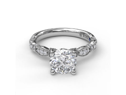 Diamond Antique Style Engagement Setting in 14K White Gold