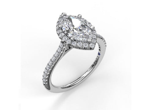 Diamond Marquise Halo Engagement Ring in 14K White Gold