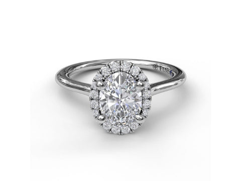 Diamond Oval Halo Engagement Setting in 14K White Gold