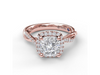 Diamond Cushion Halo Braided Engagement Ring in 14K Rose Gold