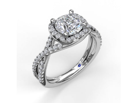 Diamond Double Halo Engagement Ring in 14K White Gold