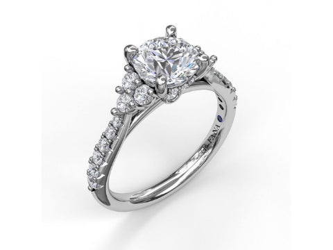 Diamond Cushion Halo Engagement Ring in 14K White Gold
