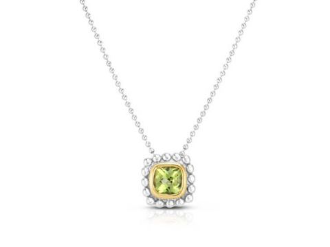 Birthstone Popcorn Necklace in Sterling Silver & 18K Yellow Gold