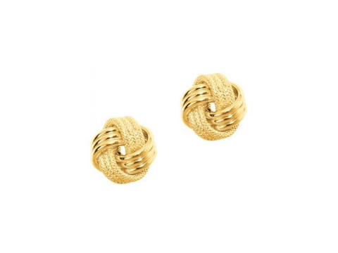 Textured Knot Earrings in 14K Yellow Gold