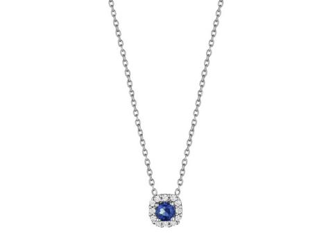Diamond and Sapphire Halo Necklace in 14K White Gold