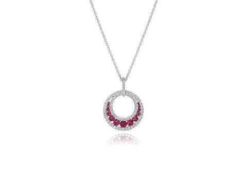 Diamond and Ruby Crescent Pendant in 14K White Gold
