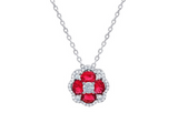 Ruby & Diamond Cluster Pendant in 14K White Gold