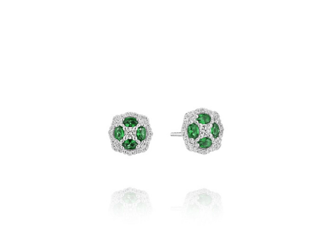 Emerald and Diamond Cluster Earrings in 14K White Gold