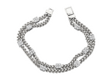 Diamond Square Pave Station Bracelet in 14K White Gold