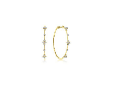 Diamond Accented Hoop Earrings in 14K Yellow Gold