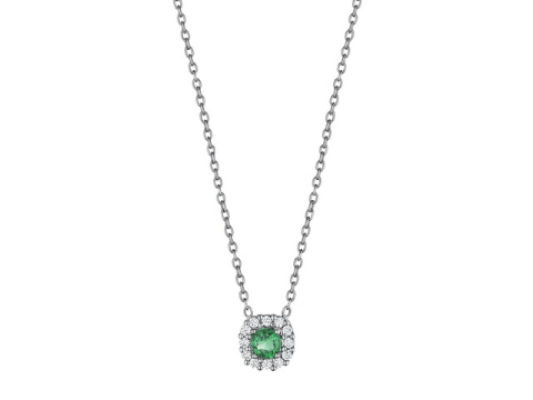 Diamond and Emerald Halo Necklace in 14K White Gold