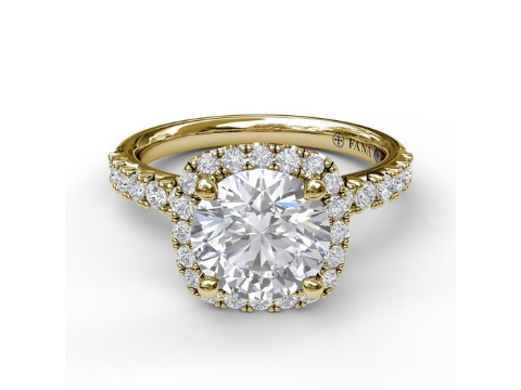 Diamond Cushion Halo Engagement Ring in 14K Yellow Gold