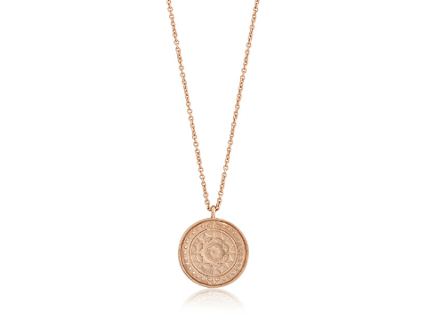 Rose Gold Verginia Sun Necklace in Sterling Silver