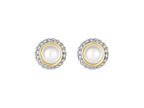 Pearl Stud Earrings in Sterling Silver & 18K Yellow Gold