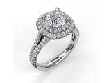 Diamond Double Halo Engagement Setting in 14K White Gold