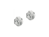 Textured Knot Earrings in 14K White Gold