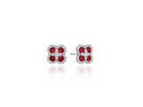 Diamond and Ruby Clover Stud Earrings in 14K White Gold