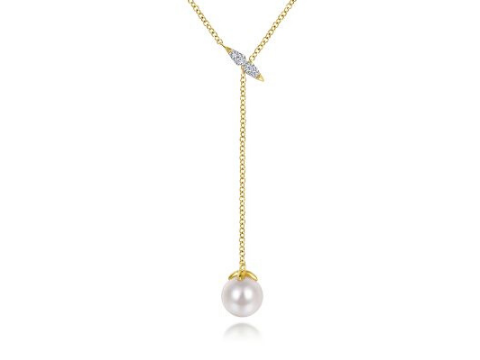 Diamond & Pearl Lariat Necklace in 14K Yellow Gold