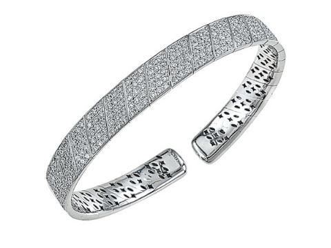 Diamond Pave Bangle in 18K White Gold