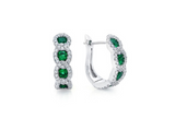 Diamond and Emerald Halo Hoop Earrings in 14K White Gold