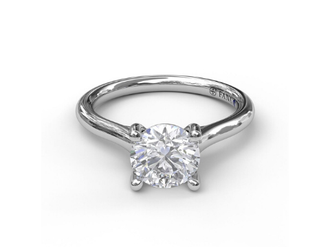 Diamond Solitaire Engagement Ring in 14K White Gold
