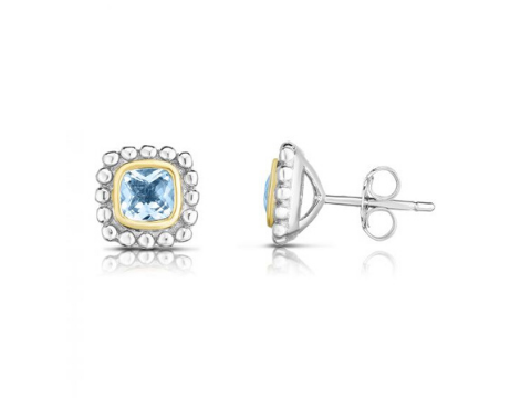 Birthstone Popcorn Earrings in Sterling Silver & 18K Yellow Gold