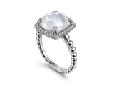 Bujukan White Sapphire, Rock Crystal and White Mother of Pearl Ladies Ring