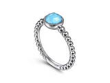 Bujukan Rock Crystal and Turquoise Ring in Sterling Silver