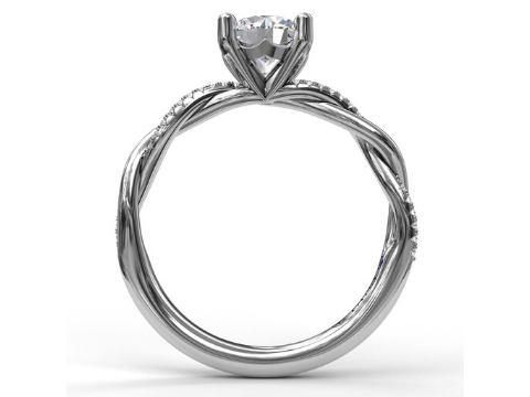 Diamond Twisted Engagement Setting in 14K White Gold