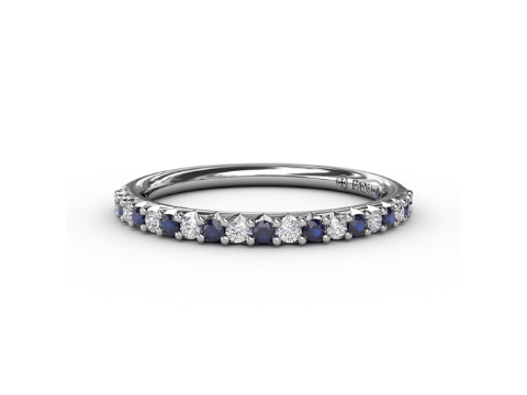 Sapphire & Diamond Band in 14K White Gold