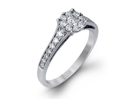 Diamond Cluster Ring in 14K White Gold