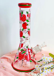 HAND PAINTED STRAWBERRY BONG