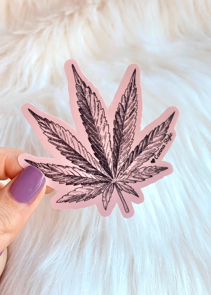 pink pot leaf sticker cute