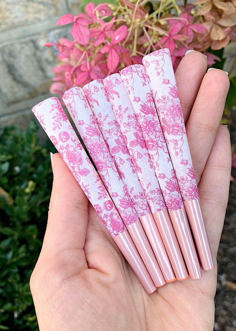 pretty rolling papers pre-rolled cones pink