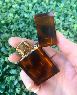 TORTOISE SHELL (REFILLABLE) LIGHTER - AMBER
