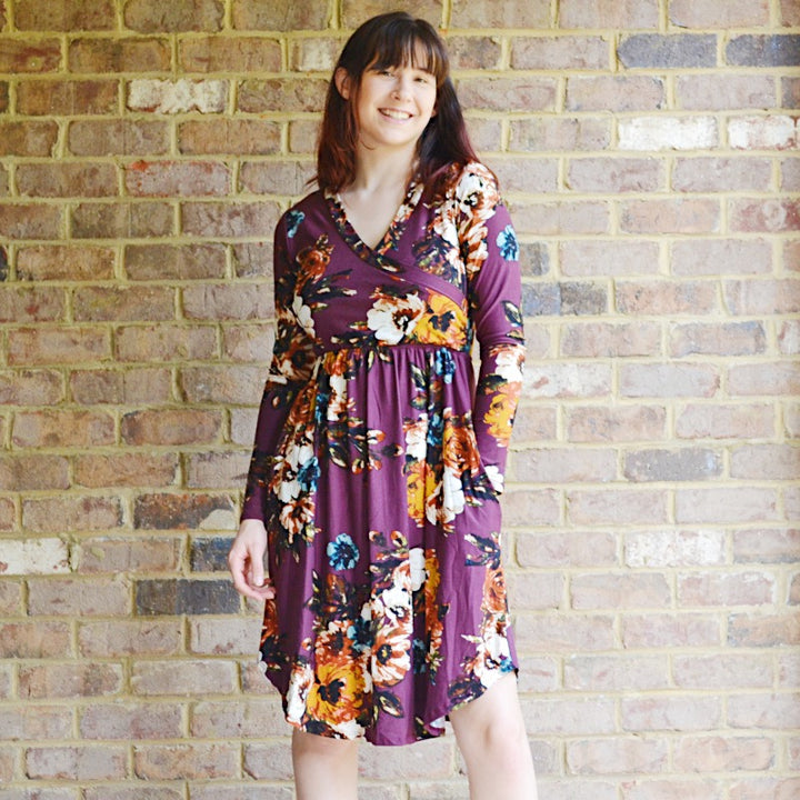 All Set Burgundy Floral Wrap Top Dress - Birdsong Designs Online