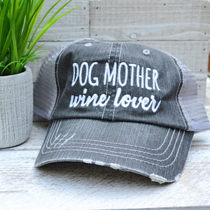 Charcoal Dog Mother Wine Lover Ballcap - Birdsong Designs Online