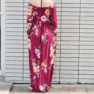 Falling In Love Burgundy Floral Maxi-Dress - Birdsong Designs Online