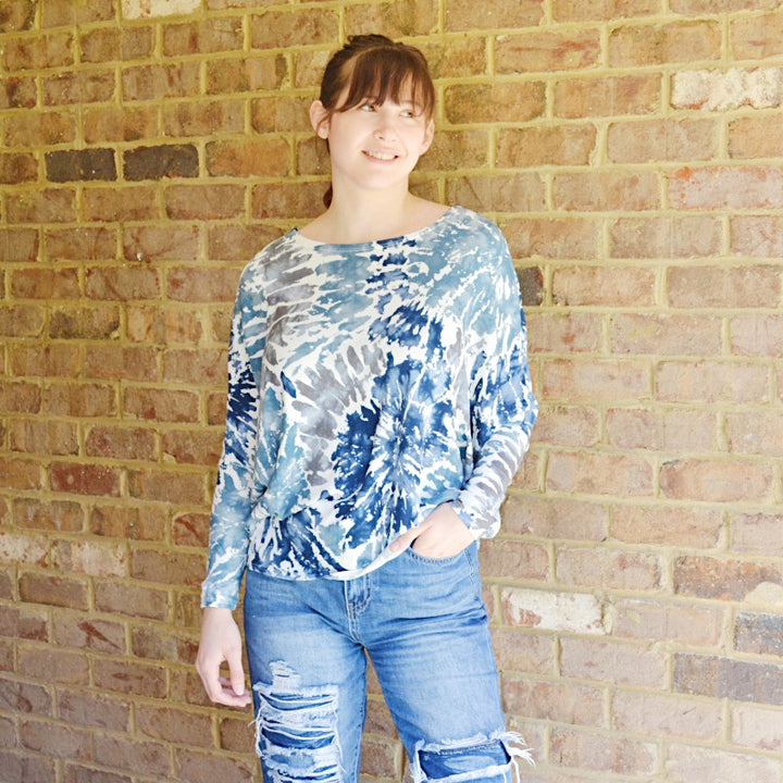 Happy Days Rust Teal & Gray Tie-Dye Slouchy Top - Birdsong Designs Online