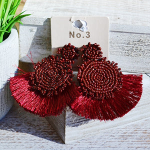 Lucia Red Beaded Fan Earrings - Birdsong Designs Online