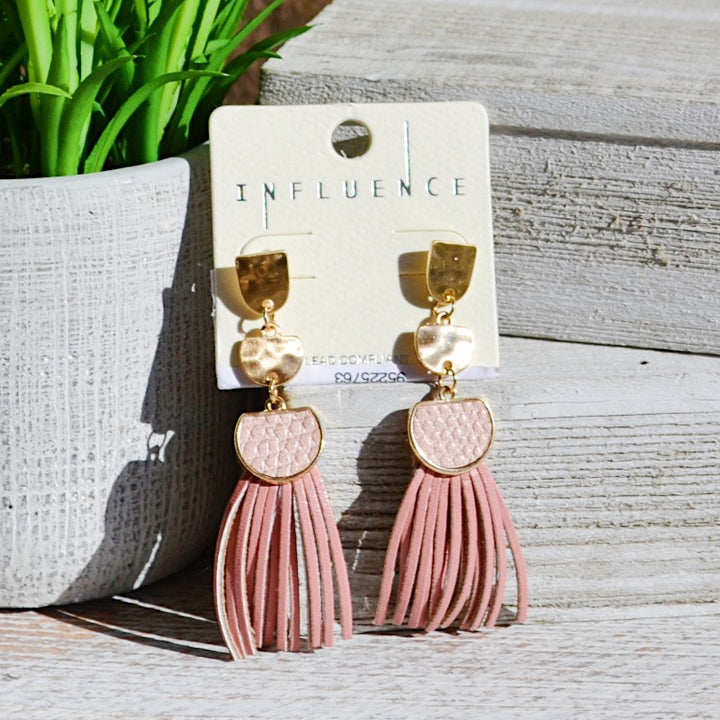 Mary Girl Peach Snakeskin Tassel Earrings - Birdsong Designs Online