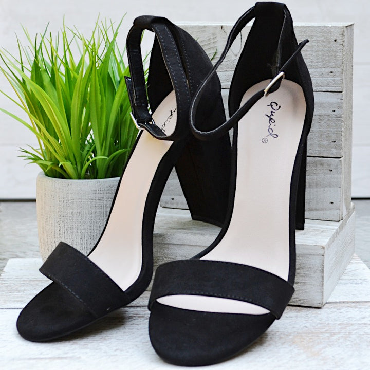 No Stopping Me Black Suede Block Heels - Birdsong Designs Online